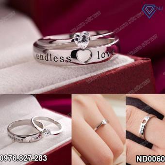 Nhẫn đôi nhẫn cặp bạc đẹp endless love ND0060