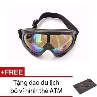 Kính đi phượt chống bụi và tia UV 7 màu 2016 + Tặng dao hình thẻ ATM