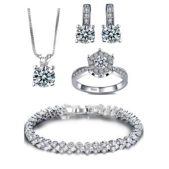 Bộ trang sức bạc 4 món đính đá thời trang minhtueshop SBT404