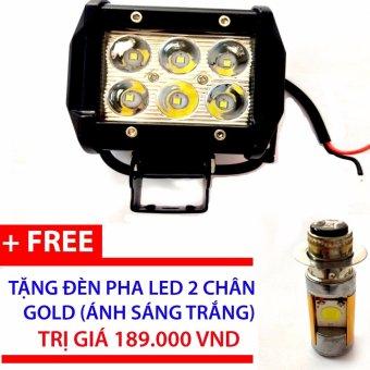 Đèn pha led C6 trợ sáng gắn xe máy + đèn pha led 2 chân gold