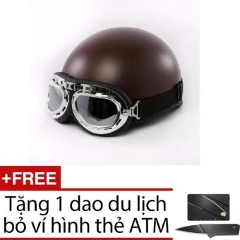 Mũ bảo hiểm hình gấu + Kính (Nâu) + Tặng 1 dao gấp hình thẻ ATM
