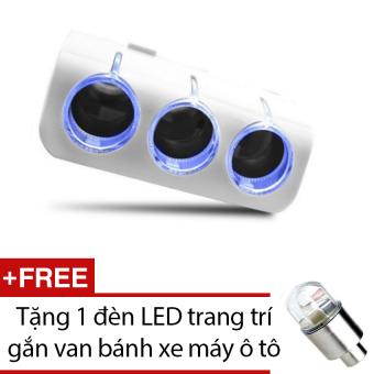 Bộ chia 3 tẩu và 2 cổng USB dành cho oto HQ STORE 0TI23 (trắng) + Tặng 1 đèn LED trang trí gắn van bánh xe máy ô tô
