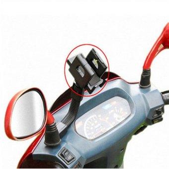 Giá đỡ kẹp điện thoại gắn kính chiếu hậu xe máy xoay 360 độ cao cấp H21-ĐEN