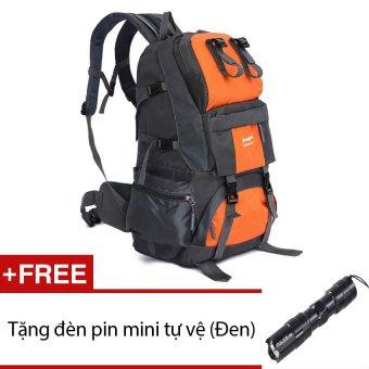Ba lô du lịch 3 múi, balo chống nước, cào cứa không sờn seonhi FK3c (Cam) + Tặng 1 đèn pin mini (Đen)