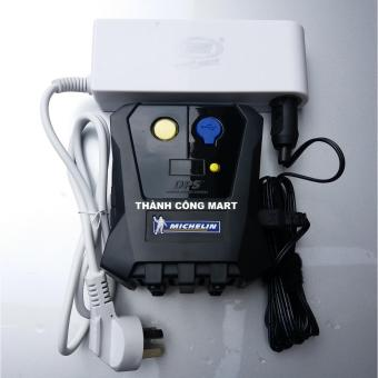 Máy bơm lốp xe đa năng MICHELIN 12264 (Đen) + Chuyển nguồn 220v -12v chuẩn 120w cao cấp.