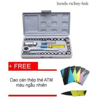 Bộ dụng cụ sửa chữa ôtô và xe máy 40 món + Tặng dao cán thép thẻ ATM