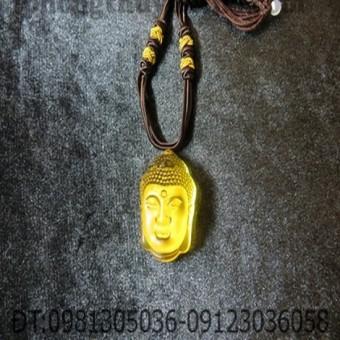 Bộ dây chuyền - Mặt phật Tổ đá hổ phách vàng dài 2,5 cm