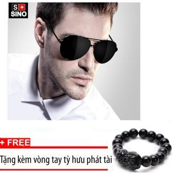 Kính mát nam thời trang Sino SN668 đen + Tặng kèm vòng tay phong thủy