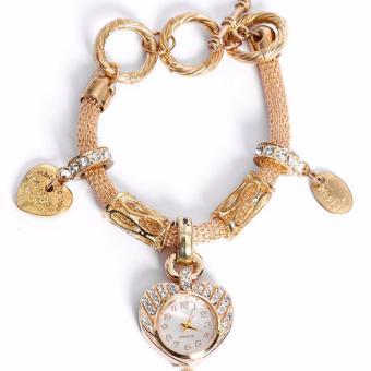Lắc tay đính đá pha lê sang trọng kiêm đồng hồ thời trang Hàn Quốc F165 (Vàng)