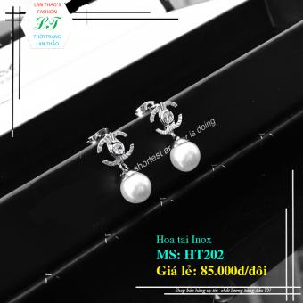 Bông tai Inox thả hạt ngọc trai HT202 (Trắng)