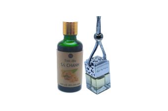 Bộ tinh dầu treo xe sả chanh nắp bạc + dầu sả chanh Ngọc Tuyết 50ml