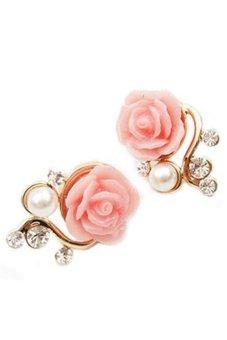 Fancyqube Fashion Elegant Roses Flash Imitation Pearl Rhinestone Stud Earrings Branches Charm Jewelry Pink