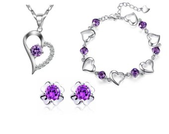 Bộ trang sức bạc trái tim nạm đá hoa 4 lá CBM06