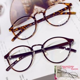 Mắt kính nhựa gọng tròn nam nữ s47 (Nâu) + Tặng kính NOBITA và 2 bao da