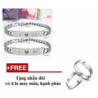 Bộ lắc đôi khắc chữ ý nghĩa LF12 (Tặng kèm nhẫn cặp đôi)