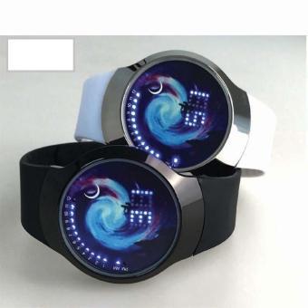 Đồng hồ nam dây nhựa led cảm ứng IDMUASAM 9702 (Dây trắng)