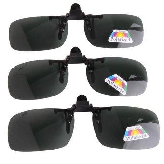 LALANG Sunglass Goggle Product Polarized Flip Up Sunglasses Clip Eyeglass Unisex Clip Eyewear Dark Green Myopia Glasses For Fishing Driving Traveling M - intl
