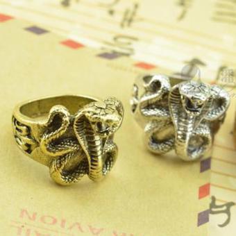 Nhẫn retro họa tiết rắn hổ mang màu đồng