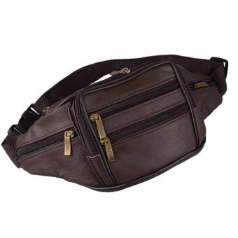 Túi da du lịch đeo bụng phối dây kéo (Nâu)
