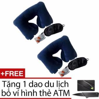 Bộ 2 gối hơi và 2 bịt mắt và 2 nút tai + Tặng 1 dao du lịch bỏ ví hình thẻ ATM