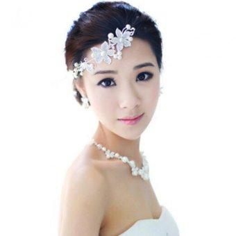 Moonar Crystal Beads Inlaid Flower Model Hair Band Elegant Bride Headdress Forehead Ornamen (White)