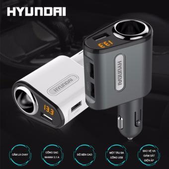 Tẩu sạc Hyundai một tẩu ba cổng USB cao cấp Sạc nhanh 3.1 by Agiadep ( Đen )