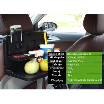 Khay đựng đồ ăn nước uống trên ô tô VIPauto -KĐĐ01 - Đen