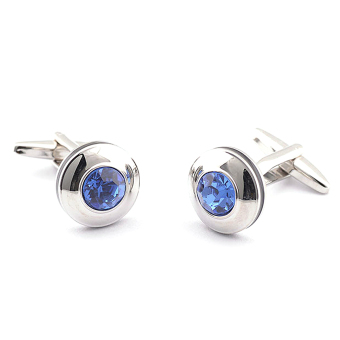 1 Pair Suit Shirt Blue Crystal Shape Cufflinks Buttons for Wedding Christmas Party Gift (Intl)
