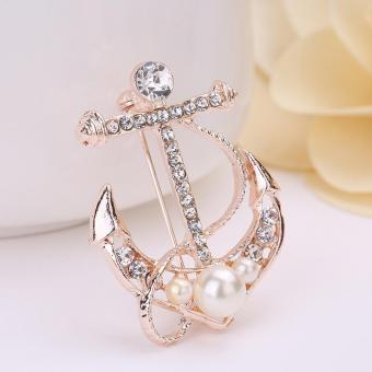 Gold Plated Crystal Women Brooch Pins Casual Anchor Girl Brooch Pins - intl