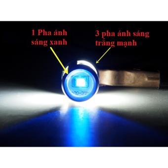 Đèn pha SUB LED 3 chân 3 Tim Trắng + 1 Tim Xanh - Hàng nhập khẩu cao cấp