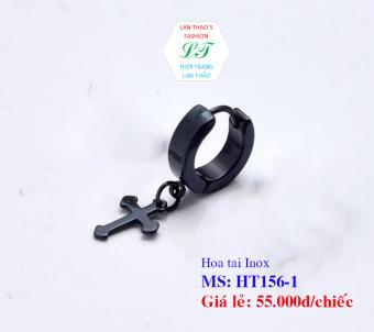 Hoa tai Inox khuyên tròn thánh giá HT156-1 (Đen)