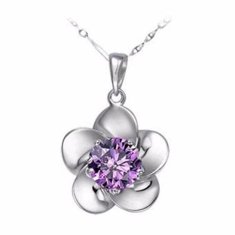 Dây chuyền bạc nữ mặt hoa 5 cánh đính đá (Trắng)