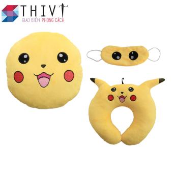 Bộ gối tựa lưng, gối cổ và bịt mắt Pokermon Go 06 - THIVI (Pikachu Vàng)