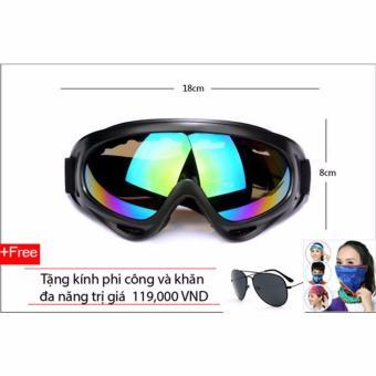 Kính bảo hộ chống bụi và tia UV cho phượt thủ (Tráng bạc) + Tặng kính mát phi công (Đen) và khăn đa năng