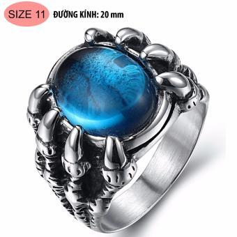 Nhẫn nam thời trang bằng Titan móng rồng ngọc xanh