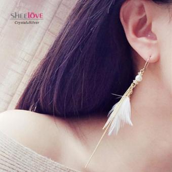 Bông tai nữ dáng dài ngọc trai lông vũ xinh xắn HKE-1604093(Trắng)