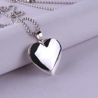 Moonar Valentine Lover Gift Animal Photo Frames Can Open Locket Necklaces Heart Pendant Necklace - intl