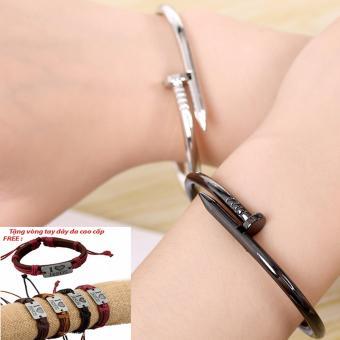 Vòng tay tán đinh (Bạc) Tặng vòng tay dây da cao cấp