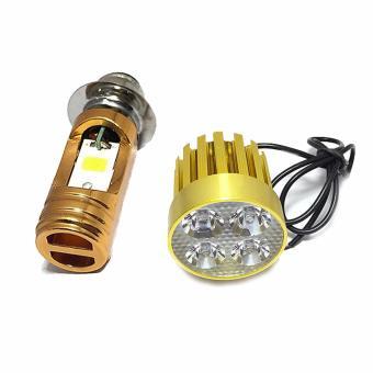 Combo Đèn pha led Thanh Khang 2 chân M5 headlight gắn xe máy(ánh sáng trắng) + Đèn Fa led Thanh Khang trợ sáng L4 gold cao cấp 2 chức năng pha cos gắn xe máy