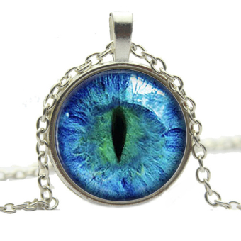 Bluelans Dragon Cat Eye Glass Cabochon Silver Gold Plated Pendant Necklace Blue Silver