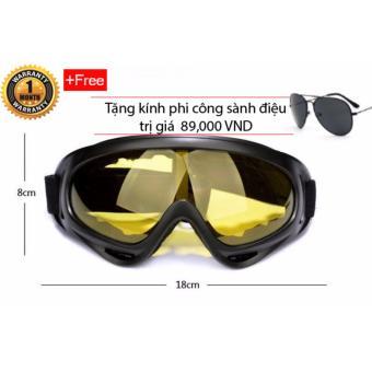 Kính đi phượt chống bụi và tia UV cho phượt thủ (Vàng) + Tặng kính phi công (Đen) và khăn đa năng