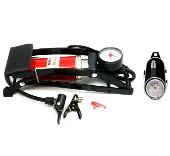 Bộ 1 bơm hơi đạp chân Mini đa năng và 1 đồng hồ đo áp suất lốp xe cơ SM129 (1 Pittong)