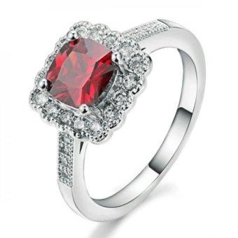 Nhẫn mạ vàng trắng đính đá đỏ sang trọng