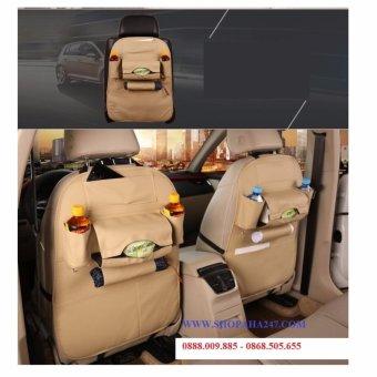 Bộ 1 túi đựng đồ 7 ngăn sau ghế xe hơi đa năng bằng da cao cấp (màu kem)