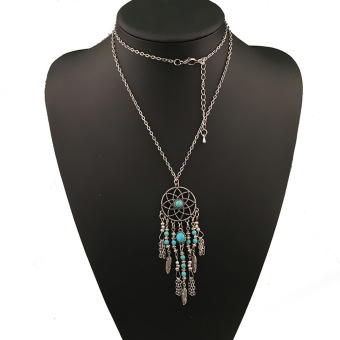Fancyqube Romantic Bohemian Nation Long Feather Jewelry Silver (Intl)