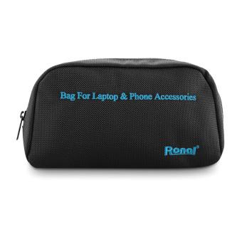 Túi phụ kiện Laptop & Phone (Đen chữ xanh)