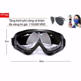 Kính bảo hộ chống bụi và tia UV cho phượt thủ (Kính trắng) + tặng kính phi công (Đen) và khăn đa năng
