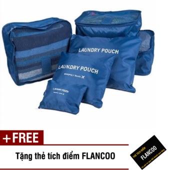 Bộ 6 túi đựng đồ đi du lịch Flancoo 3704 (Xanh đen) + Tặng kèm thè tích điểm Flancoo