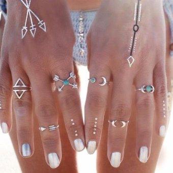 Bộ 6 nhẫn retro hạt xanh biển