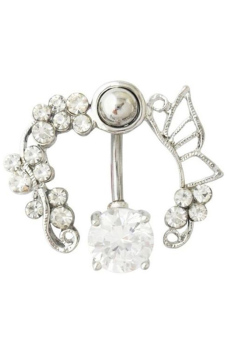 Fancyqube Hollow Belly Button Rings Sexy Body Piercing Jewelry White